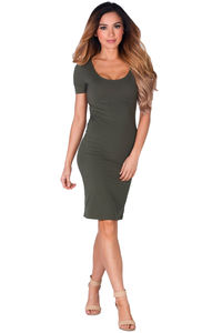 """""""Prue"""" Olive Green Short Sleeve Jersey Bodycon Casual Dress image"""