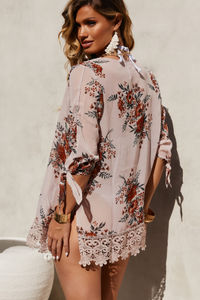 Sweetheart Floral & Lace Kimono Cover Up image