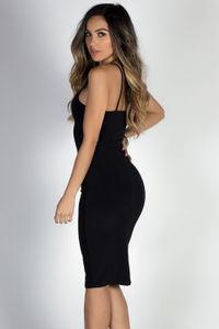"""Anna Marie"" Black Simple Bodycon Midi Slip Dress image"