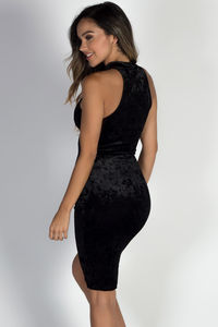 """Sweet Dreams"" Black Crushed Velvet Sleeveless Turtleneck Dress image"