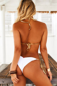 White & Gold Classic Scrunch Bottoms image