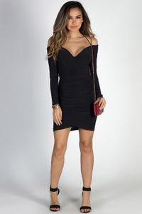 """Beautiful Life"" Black Long Sleeve Off Shoulder Ruched Dress image"