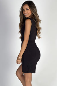 """""""In Your Arms"""" Black Sleeveless Bodycon Wrap Dress image"""