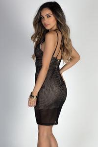 """Mysterious"" Black Net Mesh Multi Strap Lace Up Dress image"