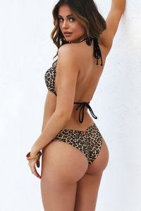 Leopard Triple Strap Classic Scrunch Bikini Bottom image