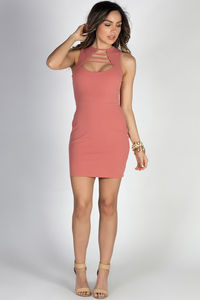 """""""Sweet Surrender"""" Dusty Coral Sleeveless Strappy Keyhole Cut Out Mini Dress image"""