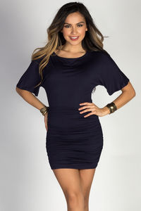 """""""Hannah"""" Navy Dolman Sleeve Ruched Jersey Dress image"""