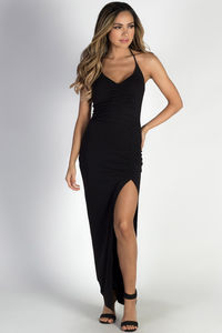 """As You Wish"" Black Side Slit Halter Maxi Dress image"