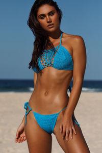 Amaryllis Turquoise Crochet Micro Rise Bikini Bottom image