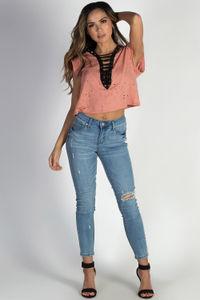 """Bad Liar"" Coral Lace Up Deep V-Neck Distressed Shirt image"