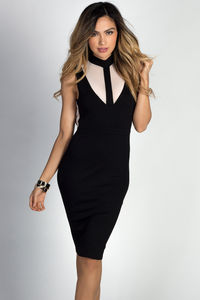 """Paulette"" Black Sleeveless Mockneck Nude Cut Out Dress image"