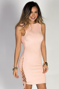 """Love Yourself"" Pink Ribbed Knit Lace Up Detail Open Back Sleeveless Dress image"