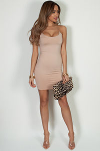 """All Or Nothing"" Taupe Spaghetti Strap Mini Dress image"