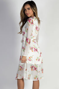 """""""Romantic at Heart"""" White Long Sleeve Floral Dress  image"""