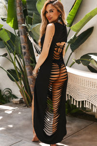 Mezcal Black Ripped Cutout Cover Up Dress image