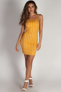 """Do Not Disturb"" Mustard Striped Mini Dress image"