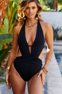 Anemone Black Deep V Cutout One Piece Swimsuit image