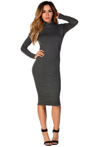 """Corinne"" Gray Jersey Turtleneck Long Sleeve Backless Midi Dress image"