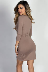 """""""Gemma"""" Taupe 3/4 Sleeve Ruched Jersey Wrap Dress image"""