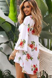 Royal Hawaiian White & Rose Floral Print Bell Sleeve Chiffon Kimono Cover Up image