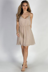 """Give Me Butterflies"" Taupe Strappy Chiffon Print Dress image"