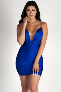 """Past Midnight"" Royal Blue Plunging Neckline Ruched Bodycon Dress image"