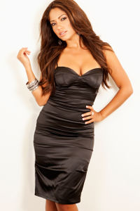 """Marlenna"" Black Satin Midi Length Spaghetti Strap Bustier Dress image"