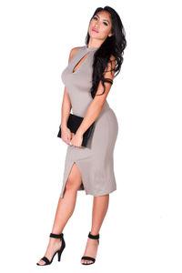 """Samicca"" Taupe Gray Keyhole High Neck Sleeveless Jersey Midi Dress image"