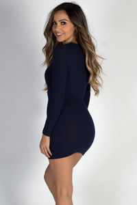 """""""Good Vibes Only"""" Navy Ribbed Crew Neck Long Sleeve Mini Dress image"""