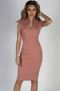 """Respect"" Mauve Classy Sleeveless Fitted Sheath Dress image"