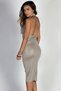 """Can't Dull My Shine"" Metallic Silver Halter Midi Dress image"