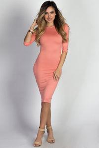 """Margo"" Peach 3/4 Sleeve Jersey Bodycon Midi Dress image"
