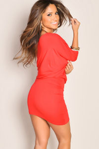 """""""Courtney"""" Red Sexy Off the Shoulder T-Shirt Dress image"""