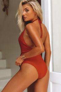 Heather Copper Keyhole Halter One Piece Swimsuit image