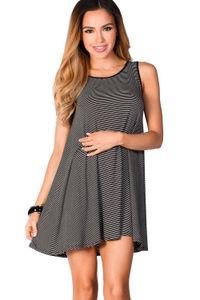"""Natalie"" Black and White Striped Strappy Back Tank Jersey Trapeze Dress image"