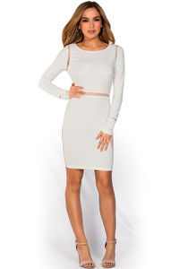 """Pearl"" Ivory White Long Sleeve Open Back Mesh Cut Out Dress image"