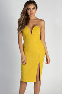 """""""Keeping My Options Open"""" Gold Sweetheart Shimmer Dress image"""