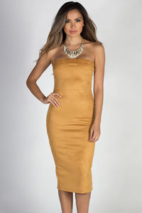 """True to Yourself"" Mustard Strapless Suede Midi Dress image"