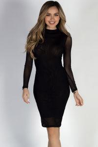 """Sheer Instinct"" Black See Through Mesh Long Sleeve Dress image"