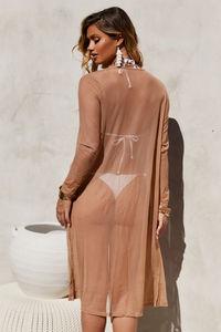 Seductress Beige Long Sleeve Kimono Cover Up image