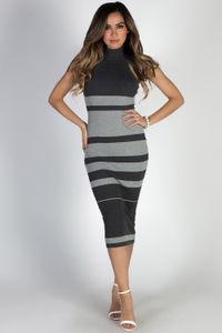 """Monochrome"" Grey Striped Sleeveless Turtleneck Midi Sweater Dress image"