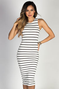 """Nautical Chic"" White & Black Striped Sleeveless Bodycon Jersey Midi Dress image"