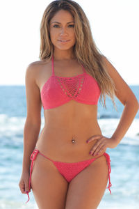 Amaryllis Coral Crochet Micro Rise Bikini Bottom image