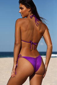 Purple Double Strap Center Loop Triangle Top image