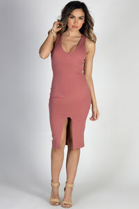 """""""I'm Obsessed"""" Dusty Coral V Neck Open Back Midi Cocktail Dress image"""
