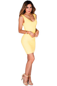 """Callie"" Sunshine Yellow V Neck Bodycon Tank Mini Dress image"