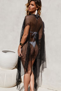 Black Kiss Sleeveless Fringed Beach Cover Up image
