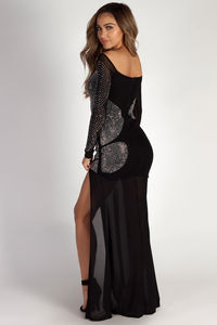 """A Night To Remember"" Black Rhinestone Long Sleeve Maxi Gown image"