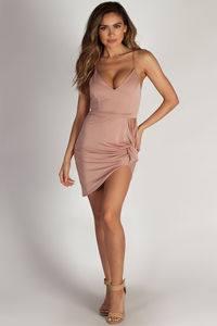 """On The Hush"" Mauve Spaghetti Strap Asymmetrical Mini Dress image"