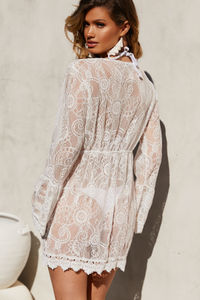Del Mar White Long-Sleeve Lace Kimono Beach Cover Up image